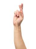 Het symboolvingers van het Gesturings goede geluk Royalty-vrije Stock Fotografie