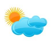 Het symboolwolk en zon van het weer Stock Foto