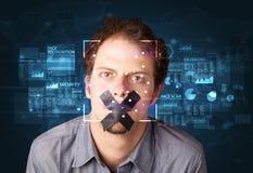 Het systeem van de gezichtserkenning stock afbeelding