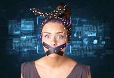 Het systeem van de gezichtserkenning stock afbeeldingen