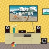 Het systeem van de huisbioskoop in binnenlandse ruimte De vlakke vector van het huistheater Royalty-vrije Stock Foto