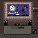 Het systeem van de huisbioskoop in binnenlandse ruimte een film over Halloween Stock Foto