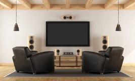 Het systeem van de huisbioskoop met uitstekend meubilair Stock Foto's