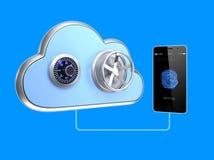 Het systeem van de vingerafdrukauthentificatie voor smartphone en wolken gegevensverwerking Stock Foto