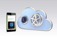 Het systeem van de vingerafdrukauthentificatie voor smartphone en wolken gegevensverwerking Stock Afbeelding
