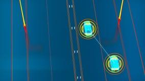 Het systeemconcept van het Autonomevervoer, slimme stad, Internet van dingen, voertuig aan voertuig, voertuig aan infrastructuur vector illustratie