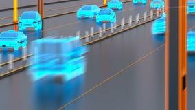Het systeemconcept van het Autonomevervoer, slimme stad, Internet van dingen, voertuig aan voertuig, voertuig aan infrastructuur stock illustratie