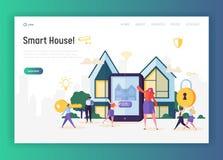 Het Systeemlandingspagina van de huisautomatisering De slim Verlichting van de Huiscontrole, Klimaat, het Toestel van Vermaaksyst vector illustratie