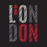 Het T-stukdruk van Londen Van de de grafiekzegel van het t-shirtontwerp het etikettypografie stock illustratie