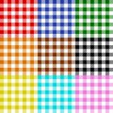 Het tafelkleed controleert veelkleurige patrooninzameling Royalty-vrije Stock Afbeeldingen