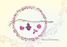 Het takje van Kerstmis met sneeuwman Stock Afbeelding