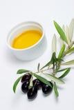 Het takje van olijven en zuivere olijfolie Stock Fotografie