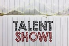 Het Talent van de handschrifttekst toont Het concept die de Concurrentie van entertainers betekenen toont het gieten van hun pres vector illustratie