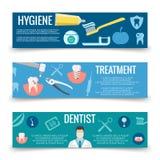 Het tandmalplaatje van de dienst vlakke banners - de banners van de tandenzorg stock illustratie