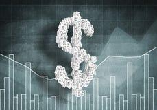 Het tarief van de dollarmunt, het 3d renderiing Stock Foto