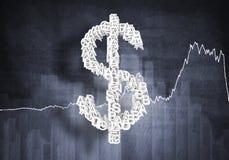 Het tarief van de dollarmunt, het 3D teruggeven Royalty-vrije Stock Fotografie