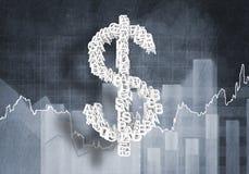 Het tarief van de dollarmunt, het 3D teruggeven Royalty-vrije Stock Afbeeldingen