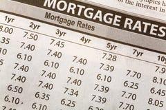 Het Tarief van de Hypotheek van de krant stock afbeelding