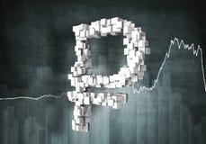 Het tarief van de roebelmunt, het 3d teruggeven Stock Fotografie