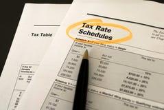 Het tariefprogramma's van de belasting Stock Foto