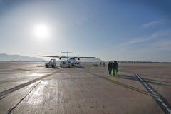 Het tarmac van de Ibizaluchthaven stock afbeeldingen