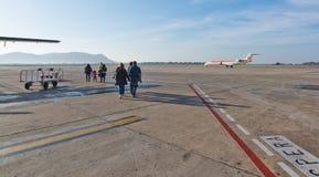 Het tarmac van de Ibizaluchthaven stock fotografie