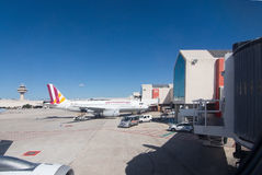 Het tarmac van het luchthavenvertrek stock foto