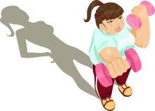 Het te zware meisje uitoefenen Stock Foto's