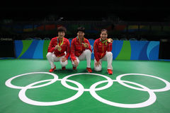 Het team Olympische Kampioen van China in Rio 2016 stock fotografie