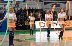 Het team UMMC van Cheerleaders. De Vrouwen 2010 van EuroLeague. Royalty-vrije Stock Afbeelding