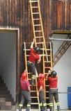 Het TEAM van brandbestrijders tijdens de brandoefening zet snelle houten ladder op Stock Fotografie
