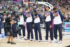 Het Team van de basketbalv.s. Royalty-vrije Stock Foto's