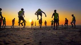 Het team van de voetbalsport is bezig geweest met jogging Stock Afbeelding