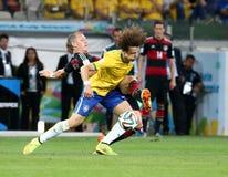 Het team van Duitsland en van Brazilië tijdens de de Wereldbekerhalve finales van 2014 Stock Foto's