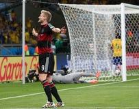 Het team van Duitsland en van Brazilië tijdens de de Wereldbekerhalve finales van 2014 Royalty-vrije Stock Foto