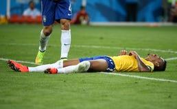 Het team van Duitsland en van Brazilië tijdens de de Wereldbekerhalve finales van 2014 Royalty-vrije Stock Afbeeldingen