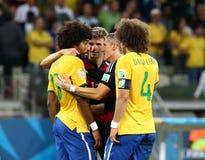 Het team van Duitsland en van Brazilië tijdens de de Wereldbekerhalve finales van 2014 Stock Fotografie