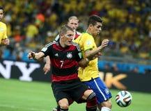 Het team van Duitsland en van Brazilië tijdens de de Wereldbekerhalve finales van 2014 Stock Afbeeldingen