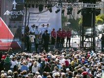 Het team van het orakel op het podium San Francisco Stock Foto