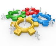 Het team van Mensen duwt samen het Succes van Toestellen vector illustratie