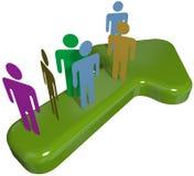 Het team van mensen op 3D symboolpijl aan vooruitgangssucces Royalty-vrije Stock Foto