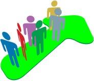 Het team van mensen op symboolpijl aan vooruitgangssucces Stock Foto's