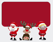 het team van santa met Tekenkaart Royalty-vrije Stock Foto's