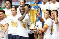Het Team van Singhaall star toont de trofee Royalty-vrije Stock Foto's