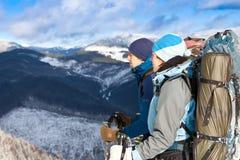 Het team van wandelaars het rusten Royalty-vrije Stock Foto's