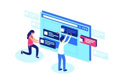 Het team van Webontwerpers creeert het ontwerp van de websitepagina vector illustratie