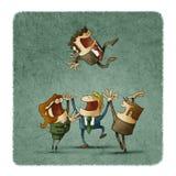 Het team viert door de werkgever omhoog te werpen vector illustratie