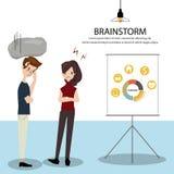 Het team was brainstorming de presentatie met moeilijkheid De werknemers kunnen ` t op programma leveren Stock Fotografie