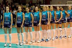Het teamDynamo van Volleybal (doctorandus in de exacte wetenschappen) Stock Foto