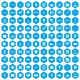 het teampictogrammen van 100 mensen geplaatst blauw Stock Fotografie